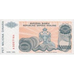 Croatie - Krajina - Pick R24 - 5 millions de dinars - 1993 - Etat : NEUF