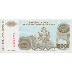 Croatie - Krajina - Pick R25 - 100 millions de dinars - 1993 - Etat : NEUF