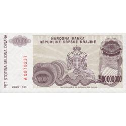 Croatie - Krajina - Pick R26 - 500 millions de dinars - 1993 - Etat : NEUF
