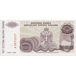 Krajina - Pick R26 - 500 millions de dinars - 1993 - Etat : NEUF