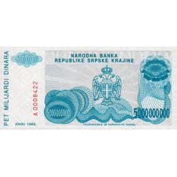 Croatie - Krajina - Pick R27 - 5 milliards de dinars - 1993 - Etat : NEUF