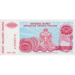 Croatie - Krajina - Pick R28 - 10 milliards de dinars - 1993 - Etat : NEUF