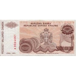 Croatie - Krajina - Pick R29 - 50 milliards de dinars - 1993 - Etat : TTB