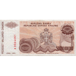 Krajina - Pick R29 - 50 milliards de dinars - 1993 - Etat : TTB