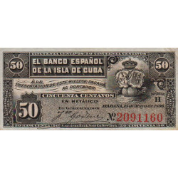 Cuba - Pick 46a - 50 centavos - 1896 - Etat : SUP