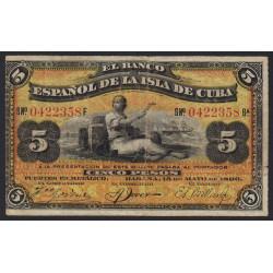 Cuba - Pick 48b - 5 pesos - 15/05/1896 - Etat : TB