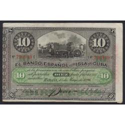 Cuba - Pick 49d - 10 pesos - 1896 - Etat : TTB