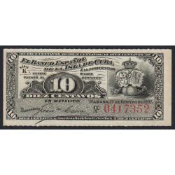 Cuba - Pick 52 - 10 centavos - 15/02/1897 - Etat : NEUF