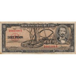 Cuba - Pick 88b - 10 pesos - 1958 - Etat : TB