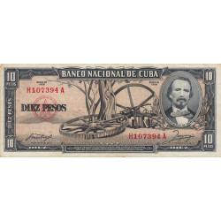 Cuba - Pick 88b - 10 pesos - 1958 - Etat : TTB