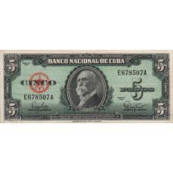 Cuba - Pick 92 - 5 pesos - 1960 - Etat : TTB