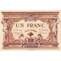 Angers (Maine-et-Loire) - Pirot 8-6b - 1 franc - Série J - 07/1915 - Etat : SPL
