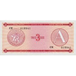 Cuba - Pick FX 2 - 3 pesos - 1985 - Série A - Etat : NEUF