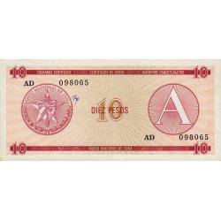Cuba - Pick FX 4 - 10 pesos - 1985 - Série A - Etat : TTB+
