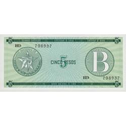 Cuba - Pick FX 7 - 5 pesos - 1985 - Série B - Etat : NEUF