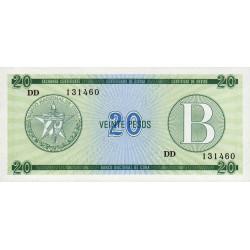 Cuba - Pick FX 9 - 20 pesos - 1985 - Série B - Etat : NEUF