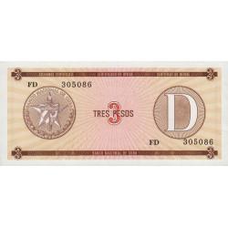 Cuba - Pick FX 33 - 3 pesos - 1990 - Série D - Etat : NEUF