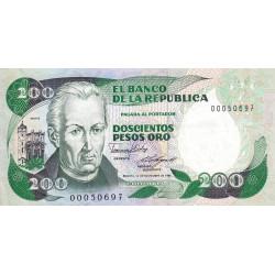Colombie - Pick 429b2 - 200 pesos oro - 10/11/1985 - Etat : NEUF