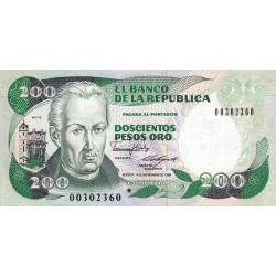 Colombie - Pick 429d3r (remplacement) - 200 pesos oro - 01/11/1988 - Etat : NEUF