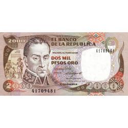 Colombie - Pick 433b - 2'000 pesos oro - 17/12/1988 - Etat : NEUF