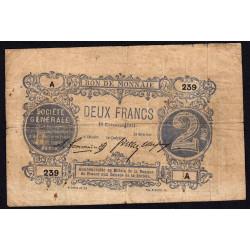 Paris - Société Générale - Jer 75.02B - 2 francs - 18/11/1871 - Etat : B+