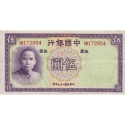 Chine - Bank of China - Pick 80 - 5 yüan - 1937 - Etat : SUP+