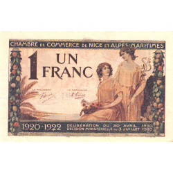 Nice - Pirot 91-11 - 1 franc - Série 86 - 30/04/1920 - Etat : TTB