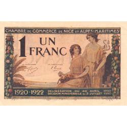 Nice - Pirot 91-11 - 1 franc - Série 132 - 30/04/1920 - Etat : SUP+
