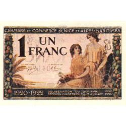 Nice - Pirot 91-15 - 1 franc - Série 144 - 30/04/1920 - Etat : SPL