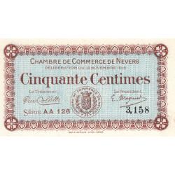 Nevers - Pirot 90-5 - 50 centimes - Série AA 126 - 12/11/1915 - Etat : NEUF