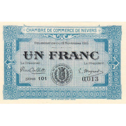 Nevers - Pirot 90-7 - 1 franc - Série 101 - 12/11/1915 - Petit numéro - Etat : NEUF