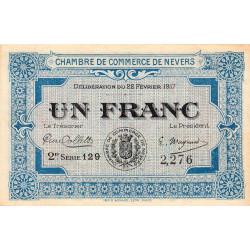 Nevers - Pirot 90-14 - 1 franc - 2e série 129 - 22/02/1917 - Etat : SPL