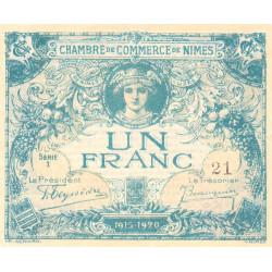Nîmes - Pirot 92-6 - 1 franc - Série 1 - 04/06/1915 - Emission 1915-1920 - Petit numéro - Etat : NEUF