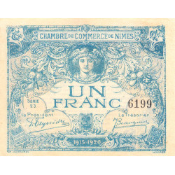 Nîmes - Pirot 92-6 - 1 franc - Série 23 - 04/06/1915 - Emission 1915-1920 - Etat : SUP+