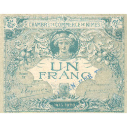 Nîmes - Pirot 92-9 - 1 franc - Série 17 - 04/06/1915 - Emission 1915-1920 - Essai - Etat : SPL