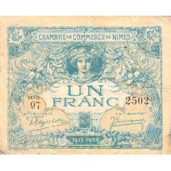 Nîmes - Pirot 92-11 variété - 1 franc - Série 97 - 04/06/1915  - Emission 1915-1920 - Etat : TB-