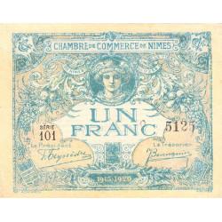 Nîmes - Pirot 92-11 variété - 1 franc - Série 101 - 04/06/1915  - Emission 1915-1920 - Etat : TTB+ à SUP