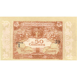 Nîmes - Pirot 92-12 variété - 50 centimes - Série 1 - 04/06/1915  - Emission 1917-1922 - Petit numéro - Etat : NEUF