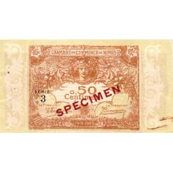 Nîmes - Pirot 92-13 - 50 centimes - Série 3 - 04/06/1915  - Emission 1917-1922 - Spécimen - Etat : SUP