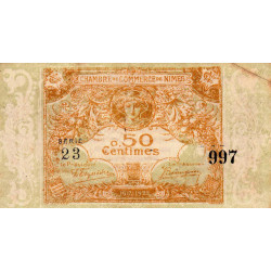 Nîmes - Pirot 92-17 - 50 centimes - Série 23 - Emission 1917-1922 - Etat : TTB