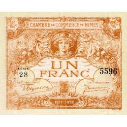 Nîmes - Pirot 92-18 - 1 franc - Série 28 - Emission 1917-1922 - Etat : SPL