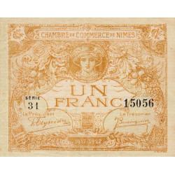 Nîmes - Pirot 92-18 variété 2 - 1 franc - Série 31 - Emission 1917-1922 - Etat : TTB+ à SUP