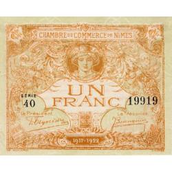 Nîmes - Pirot 92-18 variété 2 - 1 franc - Série 40 - Emission 1917-1922 - Etat : pr.NEUF