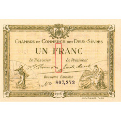 Niort - Deux-Sèvres - Pirot 93-8 - 1 franc - 10/07/1916 - Etat : NEUF