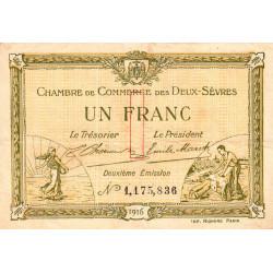 Niort - Deux-Sèvres - Pirot 93-8 - 1 franc - 10/07/1916 - Etat : TTB