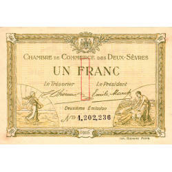 Niort - Deux-Sèvres - Pirot 93-8 - 1 franc - 10/07/1916 - Etat : SUP
