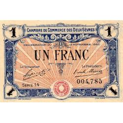 Niort - Deux-Sèvres - Pirot 93-11 - 1 franc - Série 14 - 13/11/1920 - Etat : TTB