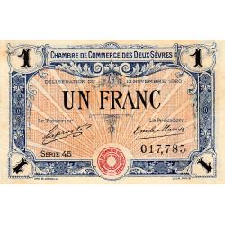 Niort - Deux-Sèvres - Pirot 93-11 - 1 franc - Série 45 - 13/11/1920 - Etat : TTB