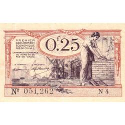 Nord et Pas-de-Calais - Pirot 94-3a - Série N4 - 25 centimes - Etat : TB+