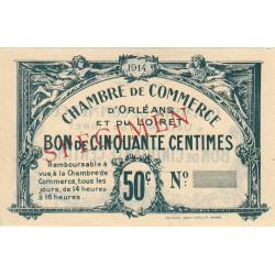 Orléans - Loiret - Pirot 95-1b - 50 centimes - 1914 - Spécimen - Etat : SPL